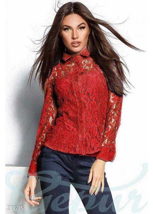 Прозрачная гипюровая блуза 21635 купить по цене 995 грн. в Украине — интернет-магазин Modesti