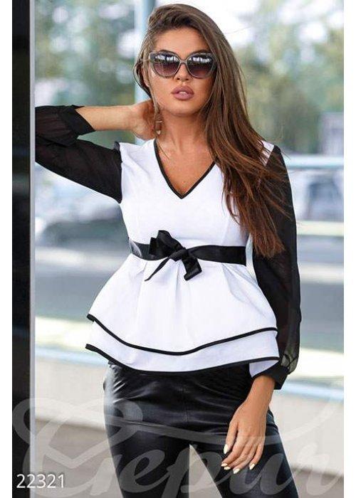 Двухцветная шифоновая блуза 22321 купить по низкой цене в Украине — интернет-магазин Modesti