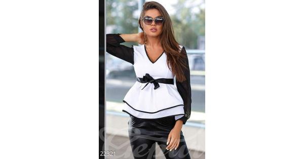 47500e6f88d Двухцветная шифоновая блуза 22321 купить по низкой цене в Украине —  интернет-магазин Modesti