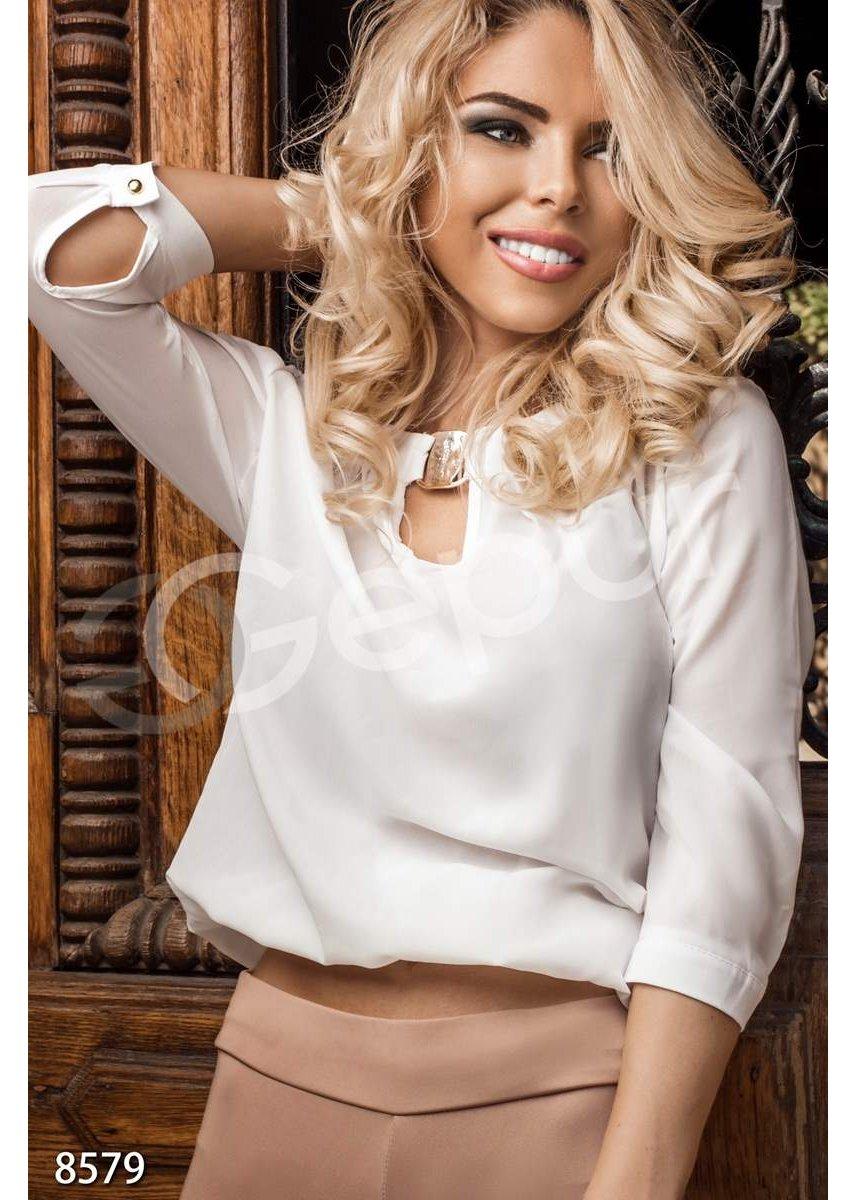 dcb385b2771 Блуза шифоновая белая 8579 купить по цене 565 грн. в Украине — интернет- магазин