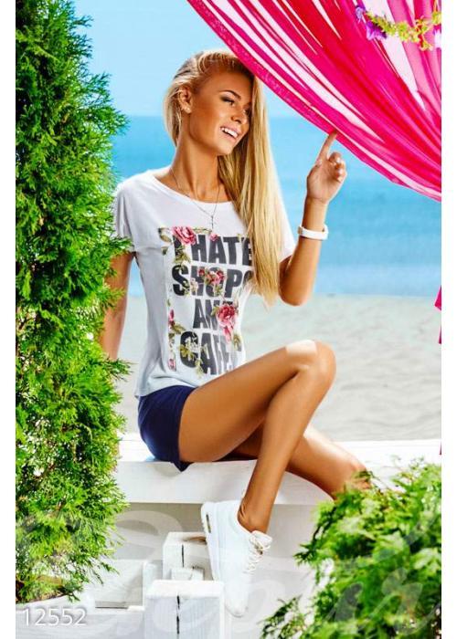 Белая летняя футболка 12552 купить по цене 350 грн. в Украине — интернет-магазин Modesti