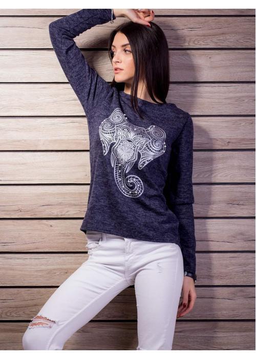 Мягкая ангоровая кофта с принтом Слон 2112-с купить по цене 305 грн. в Украине — интернет-магазин Modesti