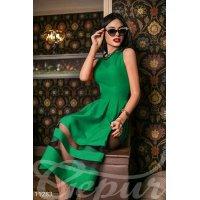 Платье габардин зеленое