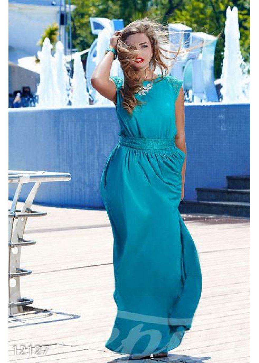 2005fe7154d Длинное красивое платье с кружевными вставками 12127 купить по ...