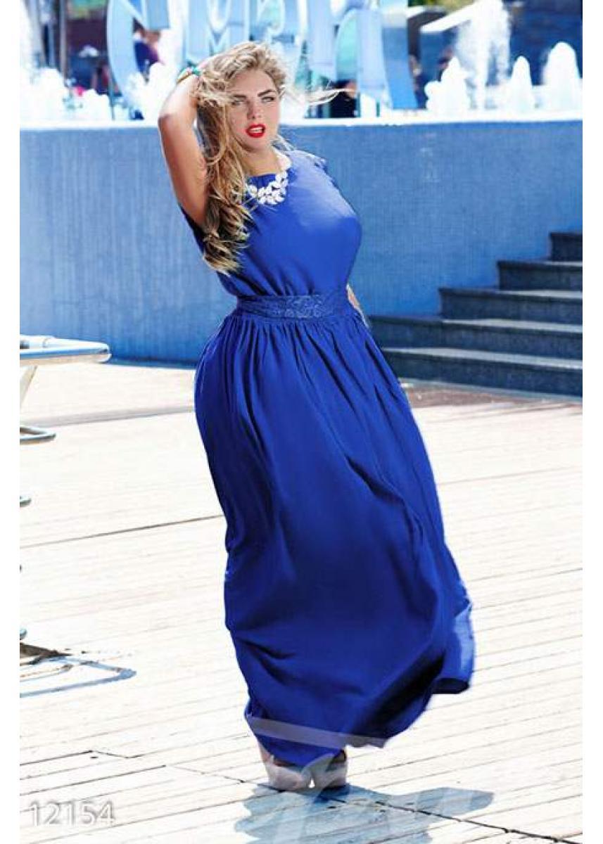 5d942d2f9cf Платье большого размера синего цвета 12154 купить по низкой цене в ...