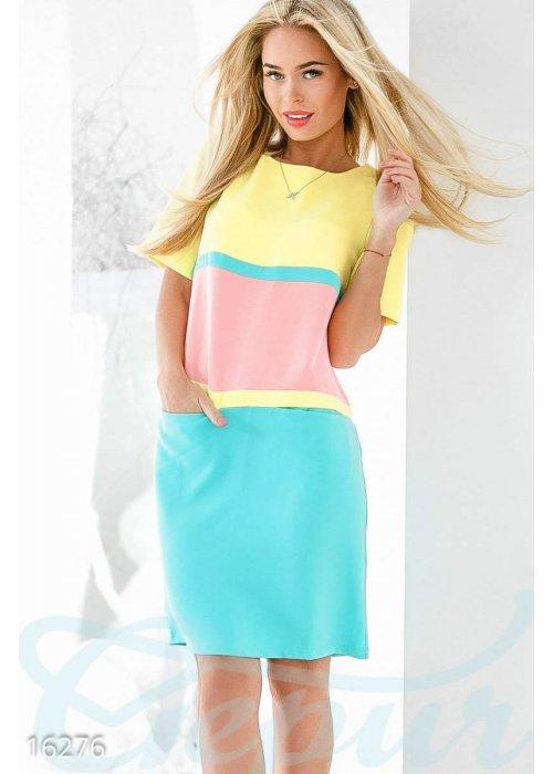 Комбинированное трёхцветное платье