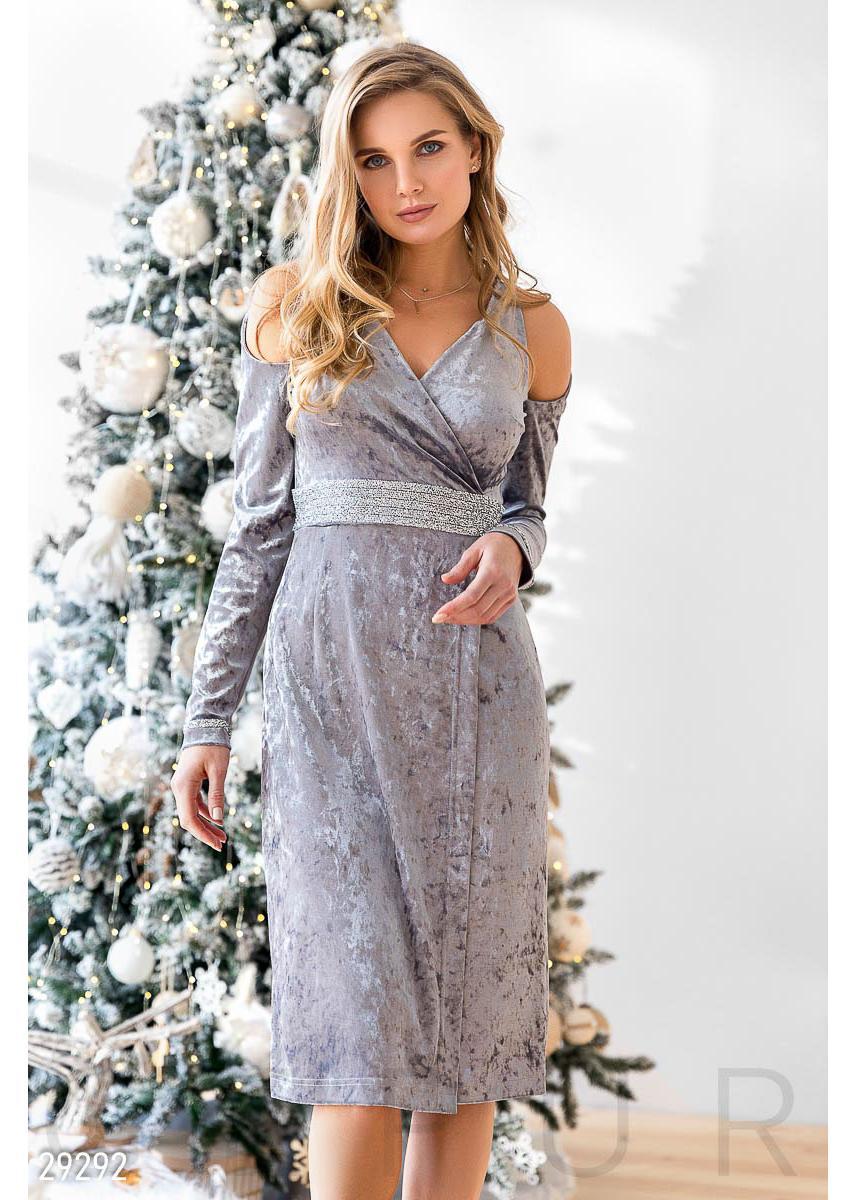 2012b6cf746f2ec Велюровое платье с декором 29292 купить по низкой цене в Украине ...