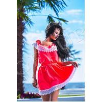 Шелковое неоновое платье с тиснением