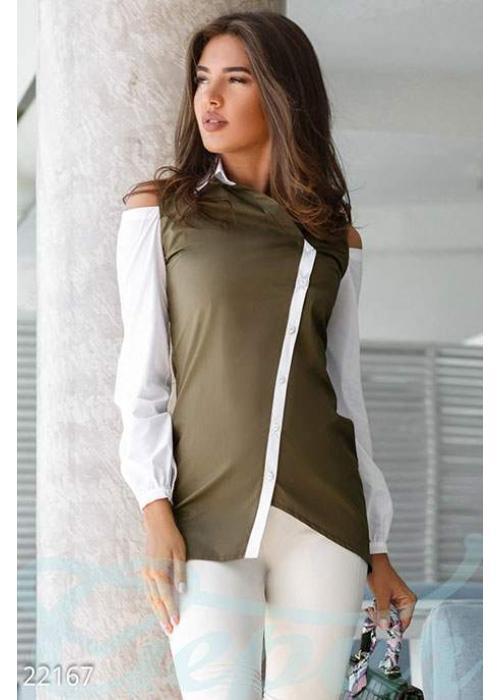 Оригинальная двухцветная рубашка 22167 купить по цене 695 грн. в Украине — интернет-магазин Modesti