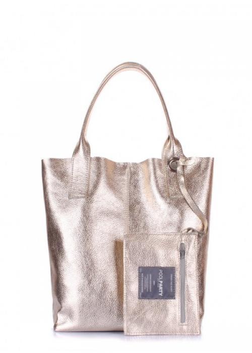 Золотая кожаная сумка Podium