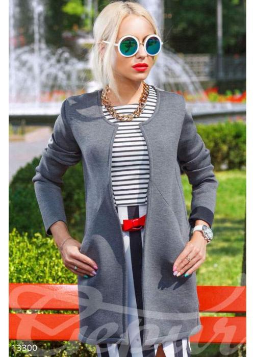 Модный прямой кардиган с карманами