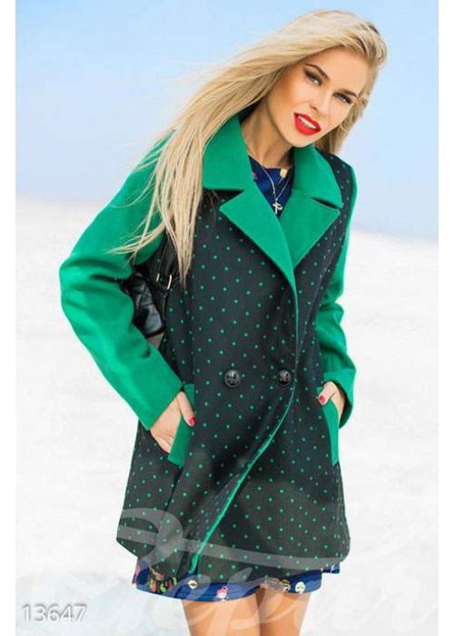 Пальто в горошек с контрастными рукавами 13647 купить по цене 1 102 грн. в Украине — интернет-магазин Modesti
