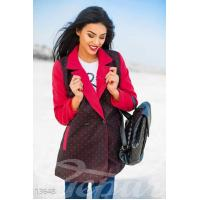 Двухцветное кашемировое пальто в горошек