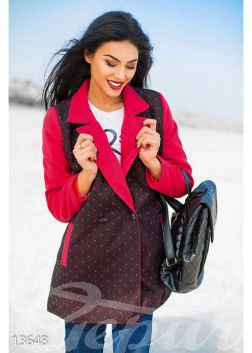 Двухцветное кашемировое пальто в горошек 13648 купить по цене 1 102 грн. в Украине — интернет-магазин Modesti