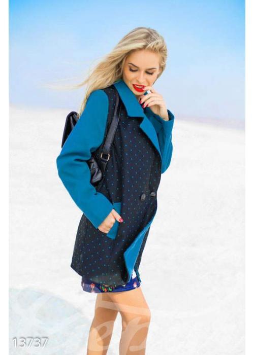 Контрастное двубортное пальто в горошек 13737 купить по цене 1 102 грн. в Украине — интернет-магазин Modesti