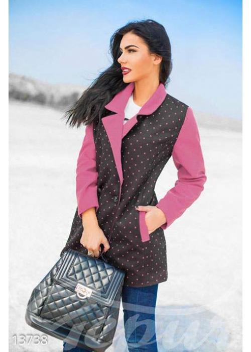Двубортное фрезовое пальто в мелкий горошек 13738 купить по цене 1 102 грн. в Украине — интернет-магазин Modesti